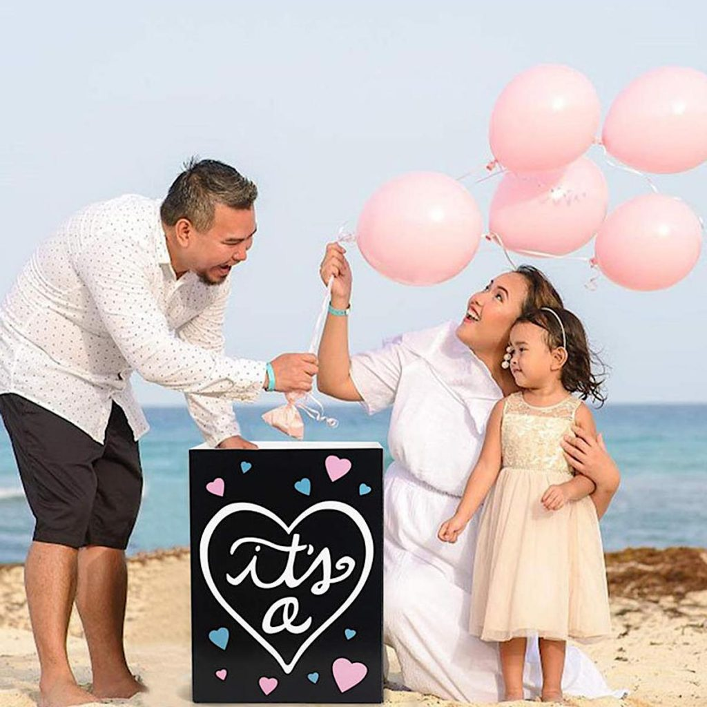 Gender Reveal Box and Balloons