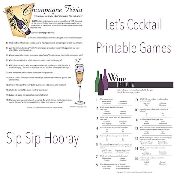 Lets Cocktail Printable Wine and Champagne Games