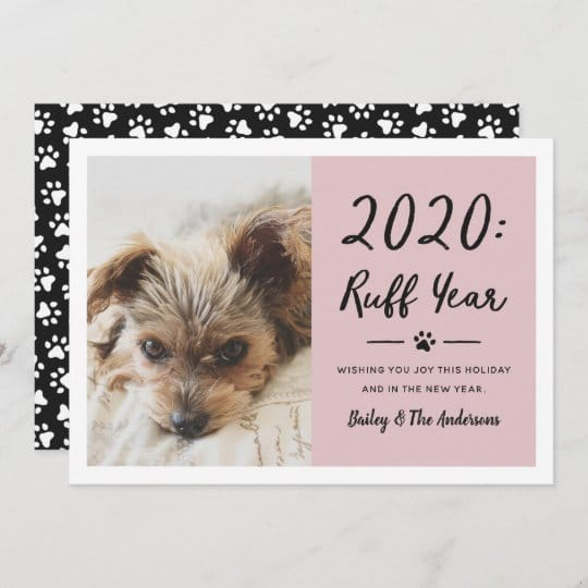 2020 Ruff Year Dog Photo Holiday Card