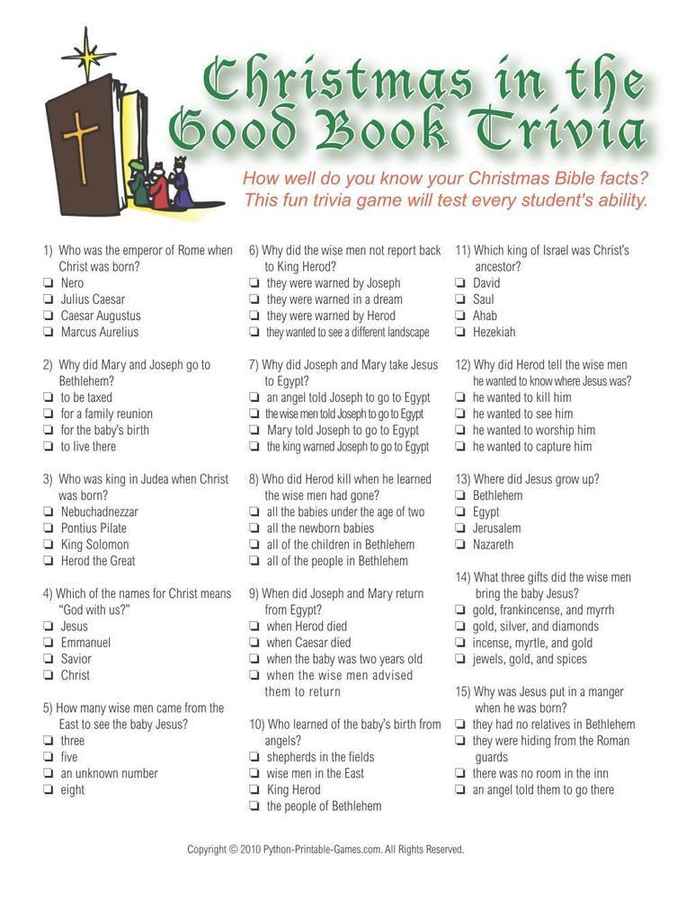 Christmas Bible Trivia Printable Game