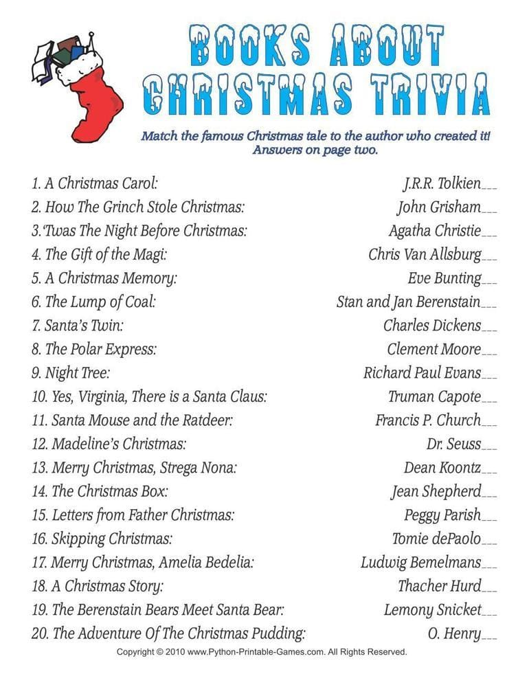 Christmas Books Trivia Match Printable Game
