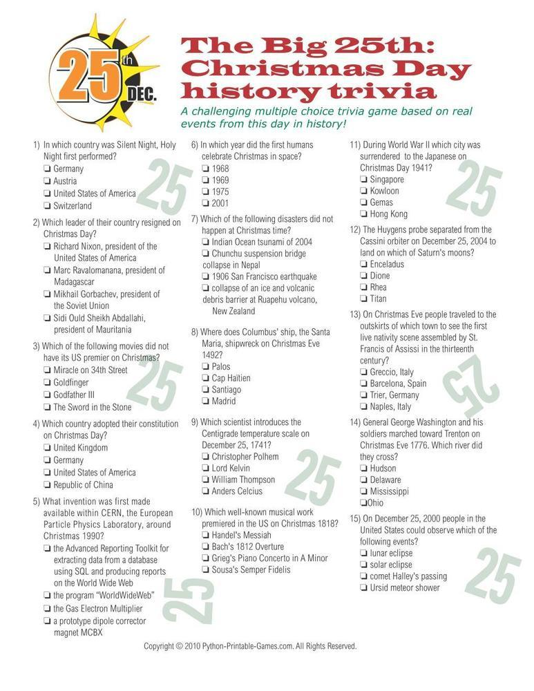 Christmas December 25th Printable Trivia Game