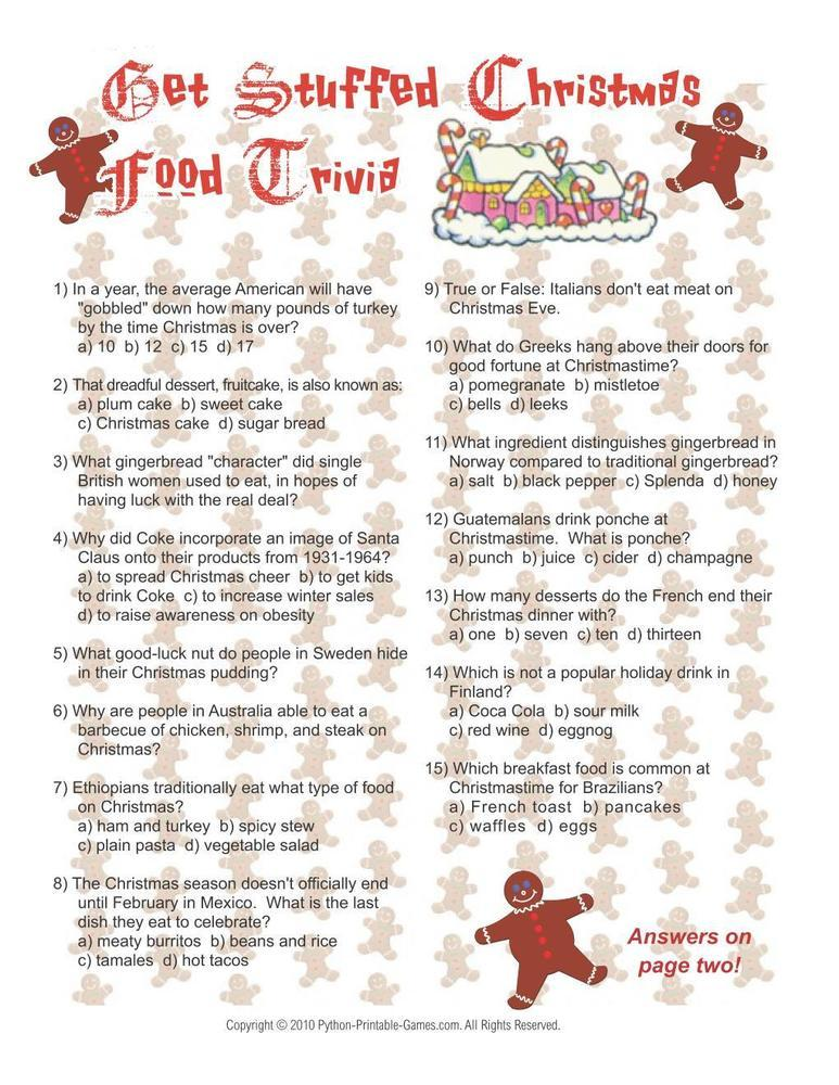 Christmas Food Trivia Printable Game
