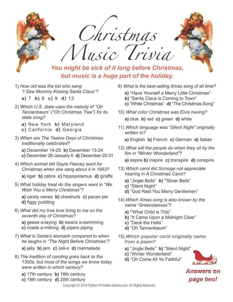Christmas Music Printable Trivia
