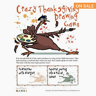 Thanksgiving Crazy Drawing Printable Game