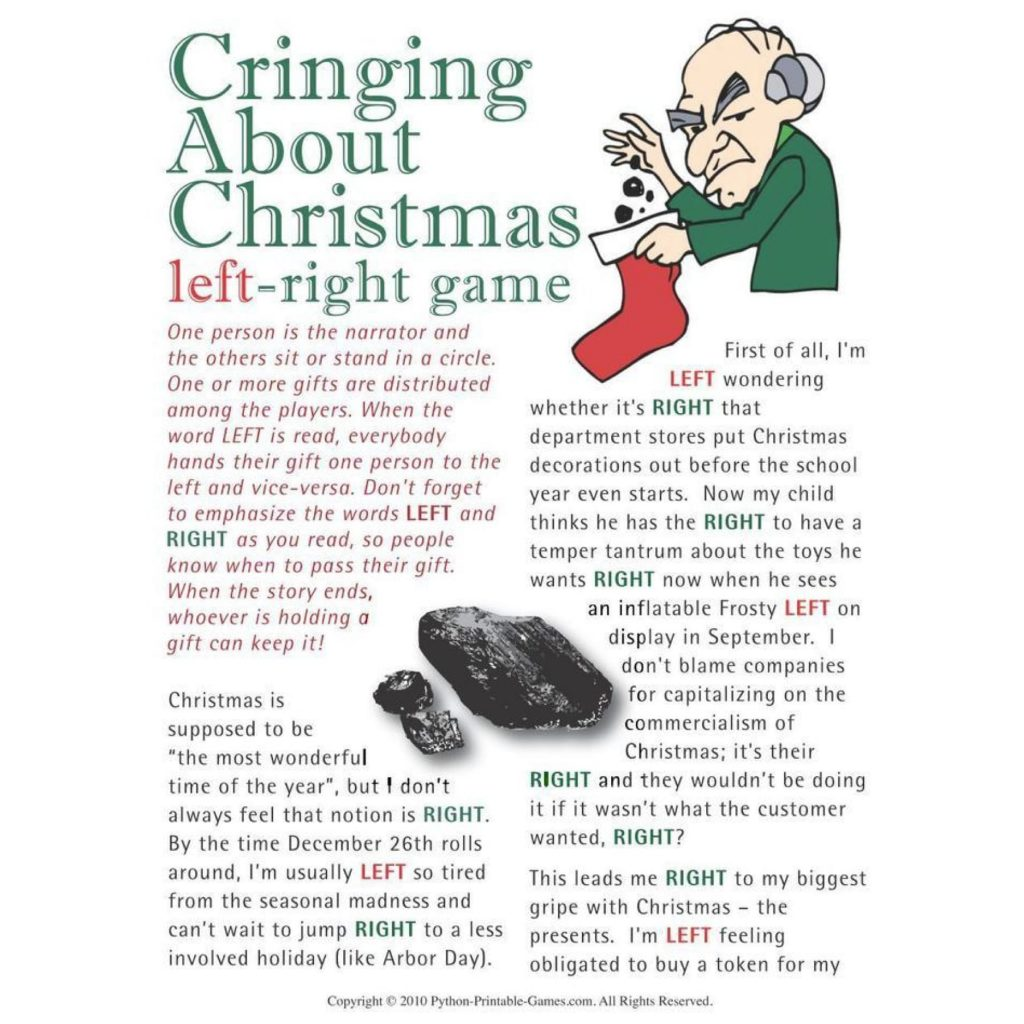 Cringing About Christmas Left-Right Prntable Games