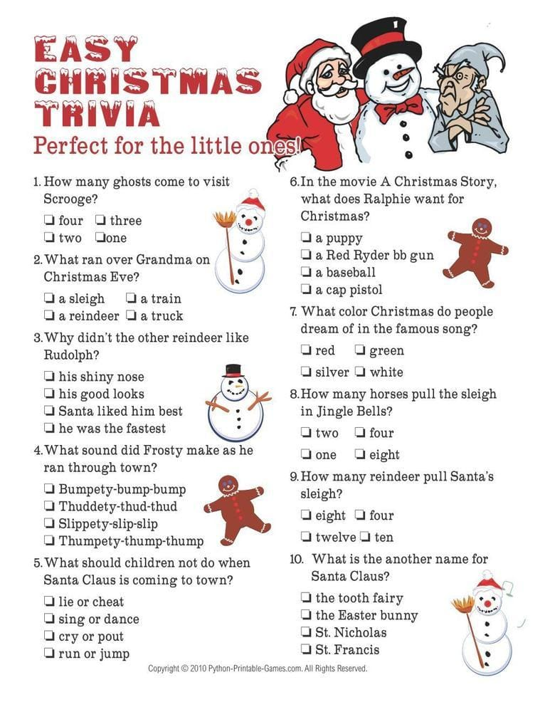Easy Printable Christmas Trivia Game For Kids