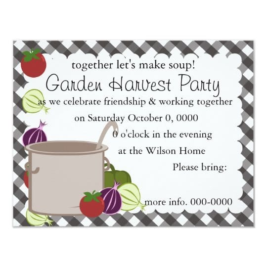 Garden Harvest Party Let's Make Soup Invitation