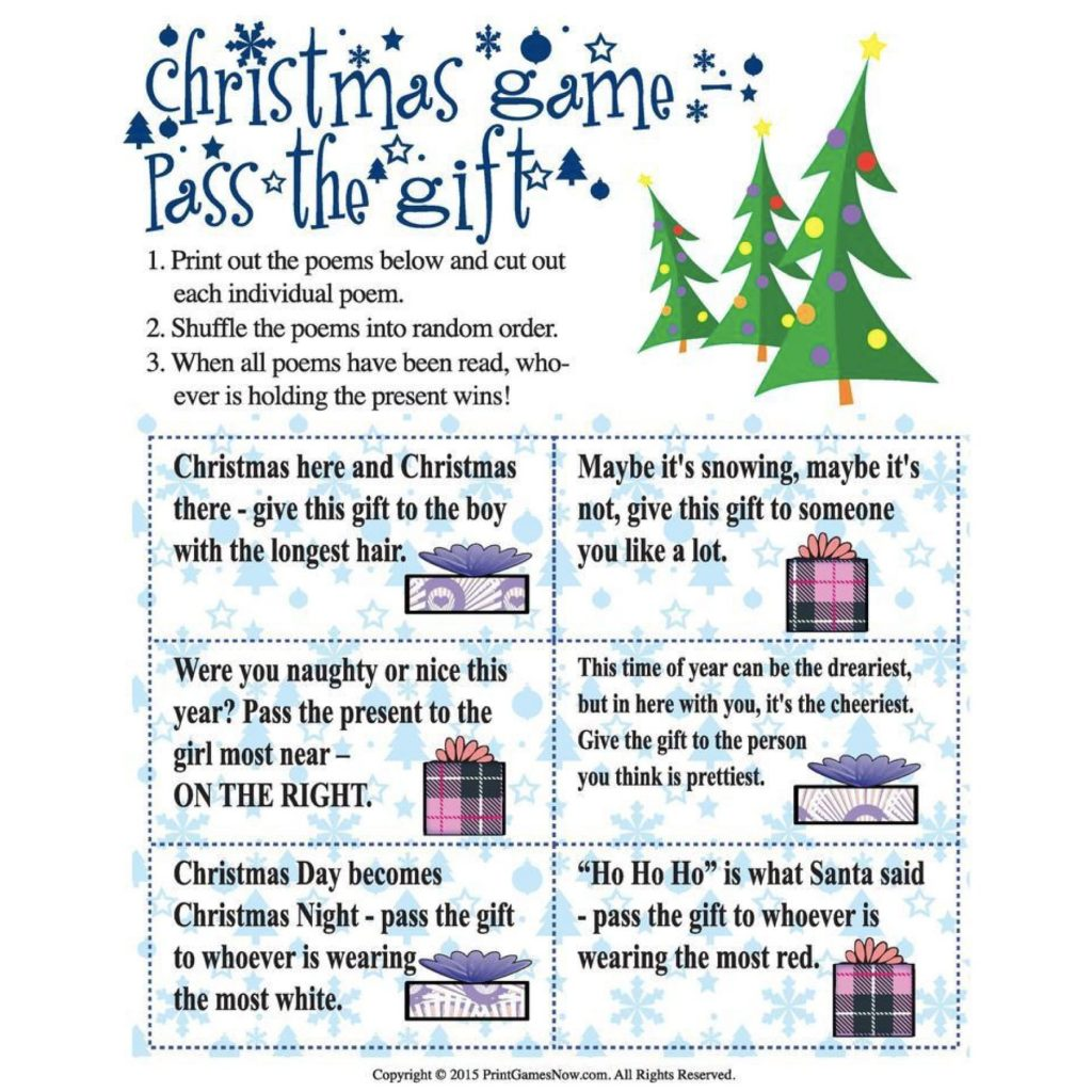 Pass the Gift Printable Christmas Game