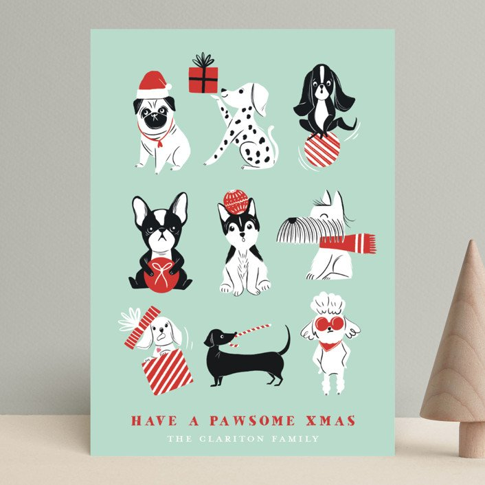 Pawsome Christmas Puppy Holiday Card