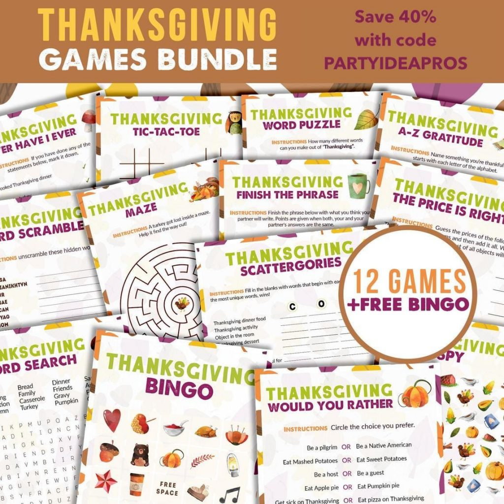 Printable Thanksgiving Games Bundle