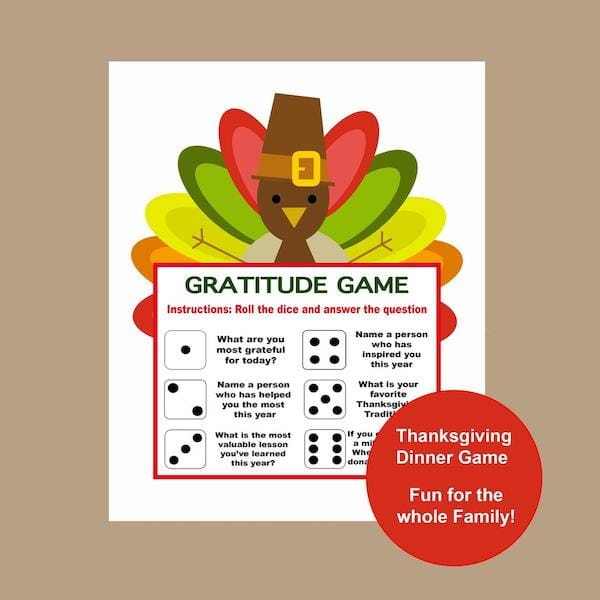 Printable Thanksgiving Gratitude Game