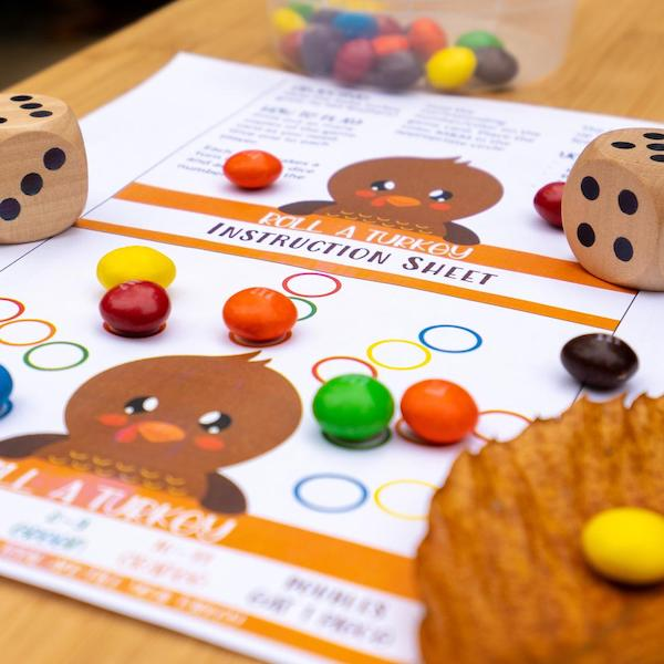 Printable Thanksgiving Roll a Turkey Dice Game