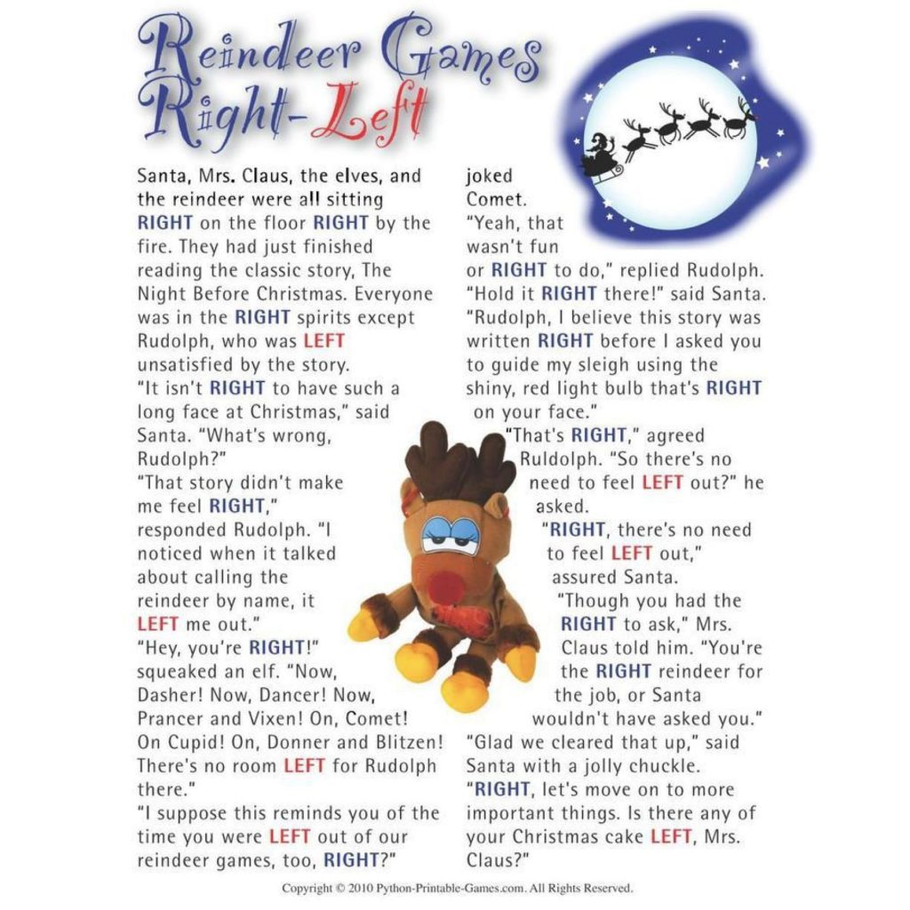 Reindeer Left Right Printable Christmas Games