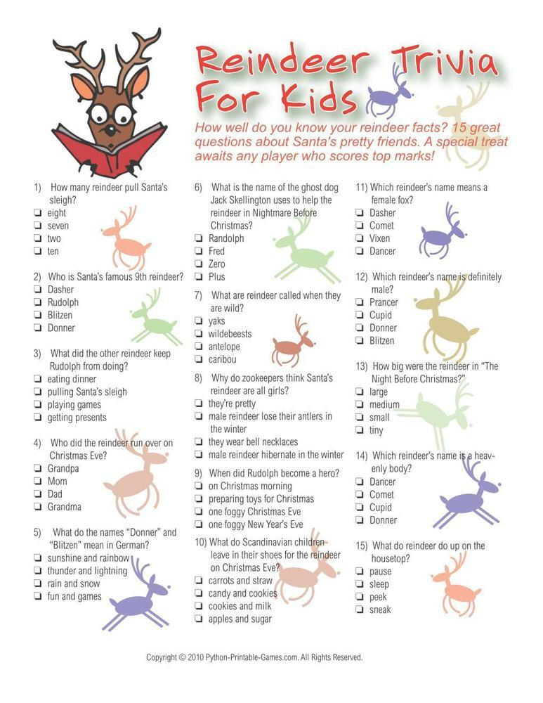 Reindeer Printable Christmas Trivia For Kids