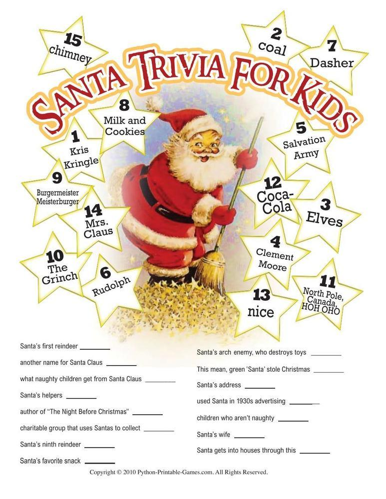 Santa Claus Printable Trivia For Kids