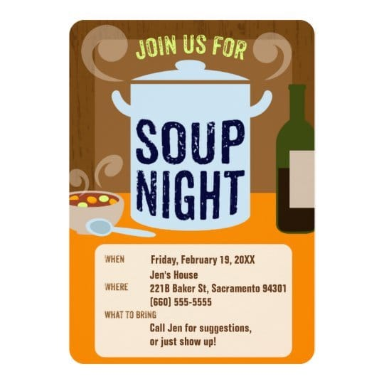 Soup Night Casual Dinner Party Invitation
