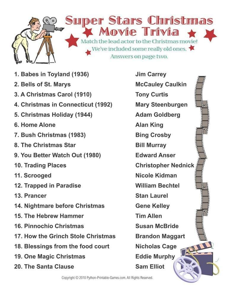 Super Stars Christmas Movies Printable Trivia