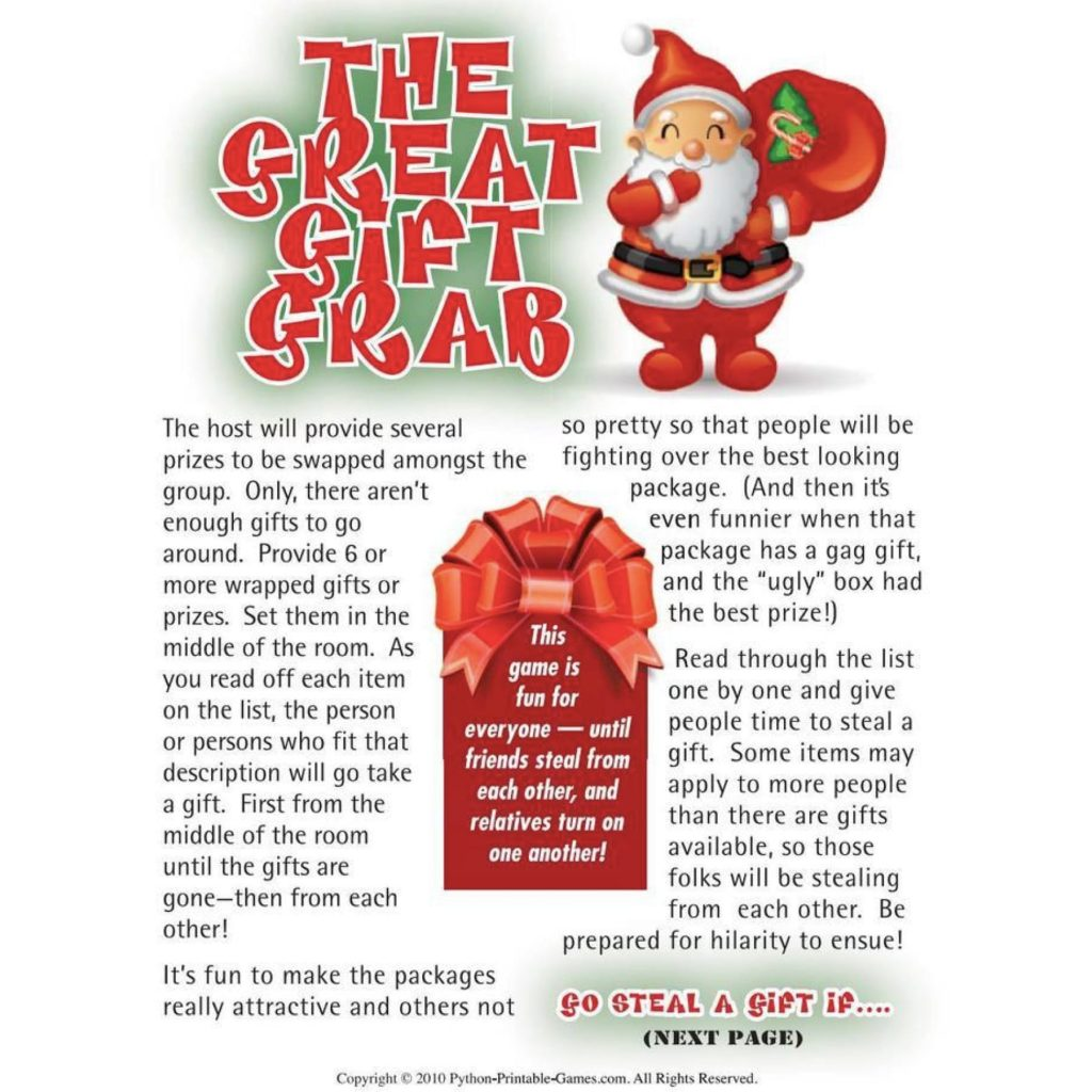 The Great Gift Grab Printable Christmas Games