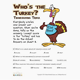 Who's the Turkey Trivia Printable Thanksgiving Games