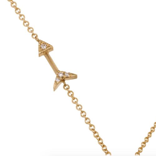 18K Gold Mini Arrow Diamond Necklace