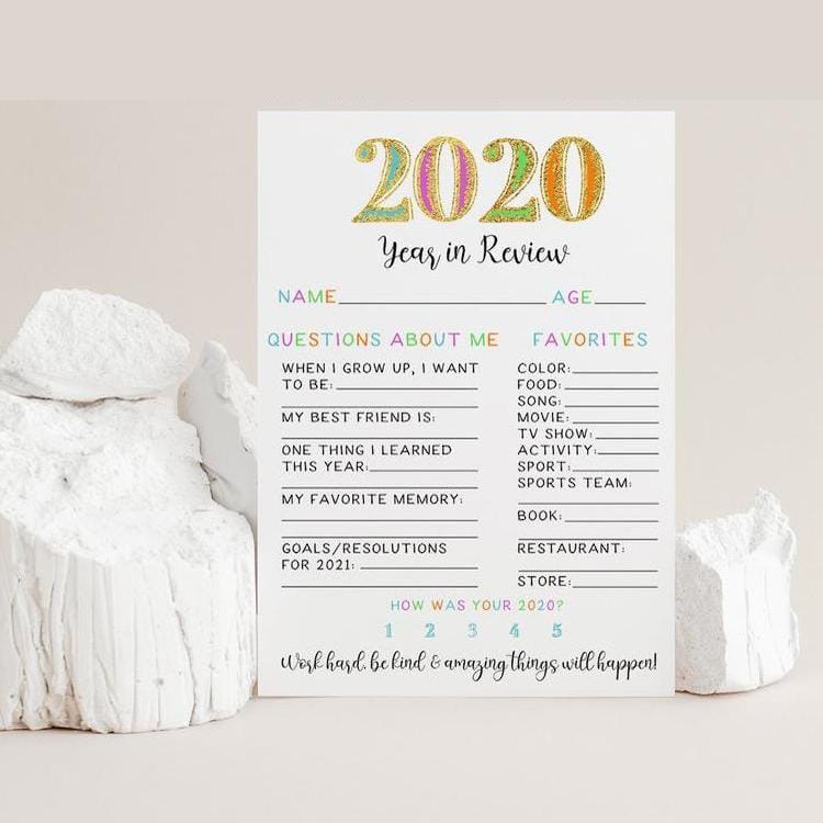 2020 Year in Review Printable Game