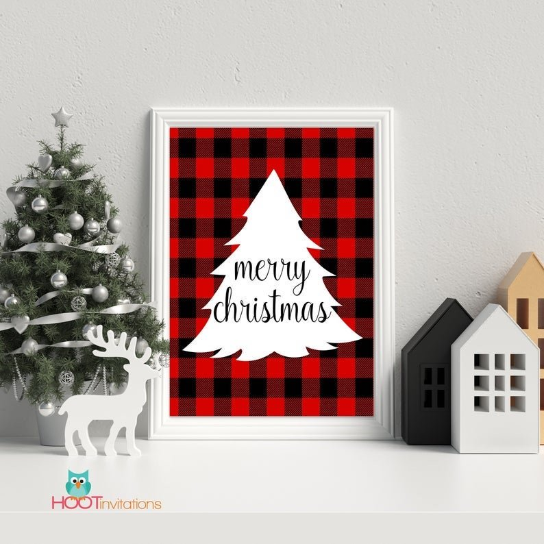 Buffalo Plaid Christmas Tree Printable Holilday Decor