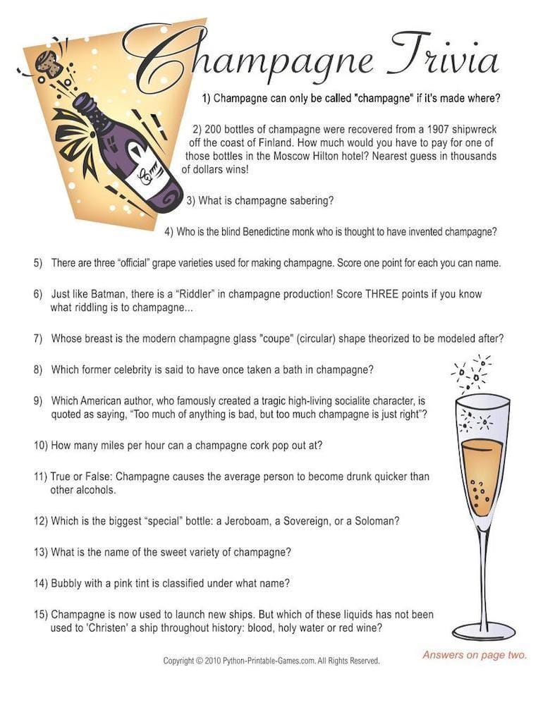 Champagne Trivia Printable New Years Games
