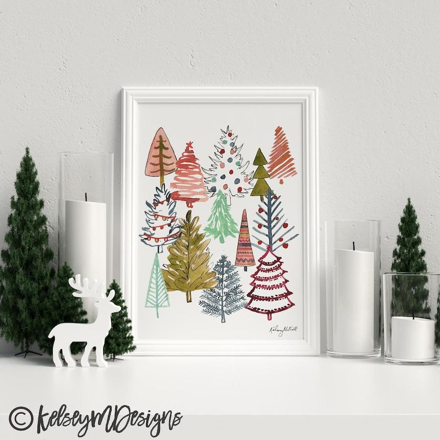 Christmas Tree Art Printable Holiday Decor