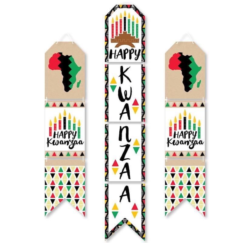 Happy Kwanzaa - Hanging Vertical Paper Door Banners