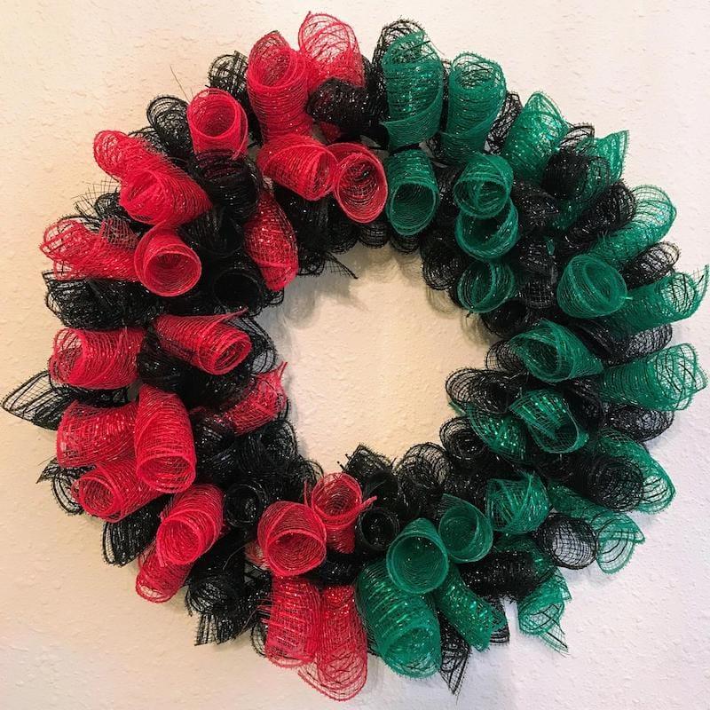Mesh Kwanzaa Wreath Black Red Green