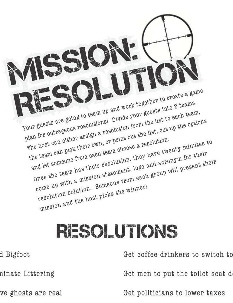Mission Resolution Printable New Year Game