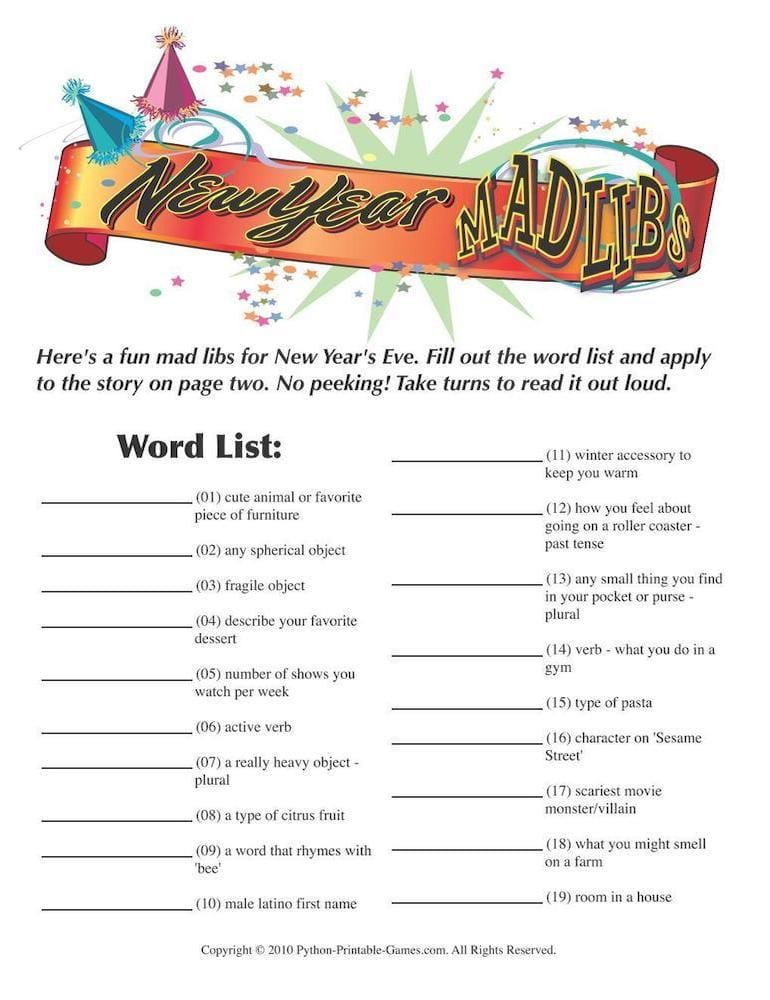 New Year Mad Libs Printable Game