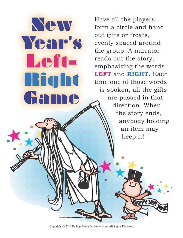 New Years Left Right Printable Game