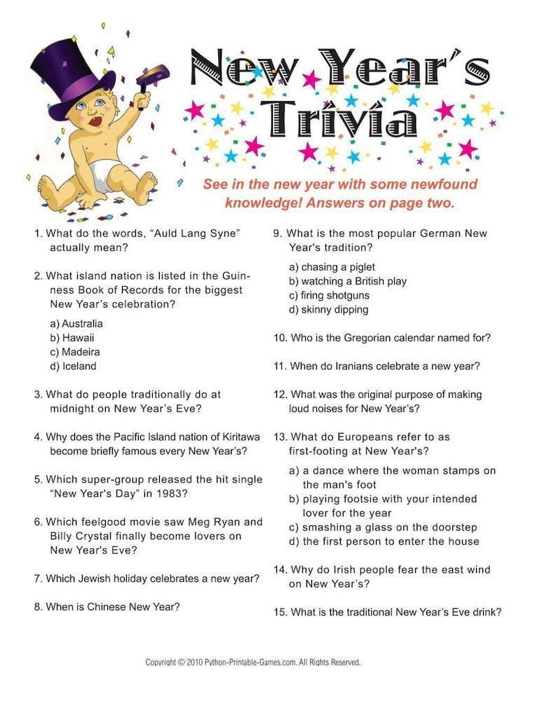 New Years Trivia Printable Game