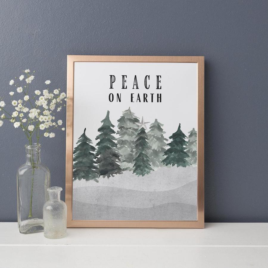Peace on Earth Printable Winter Holiday Decor
