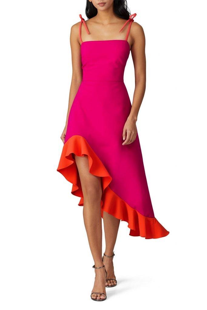 Christian Siriano Pink Tie Shoulder Dress