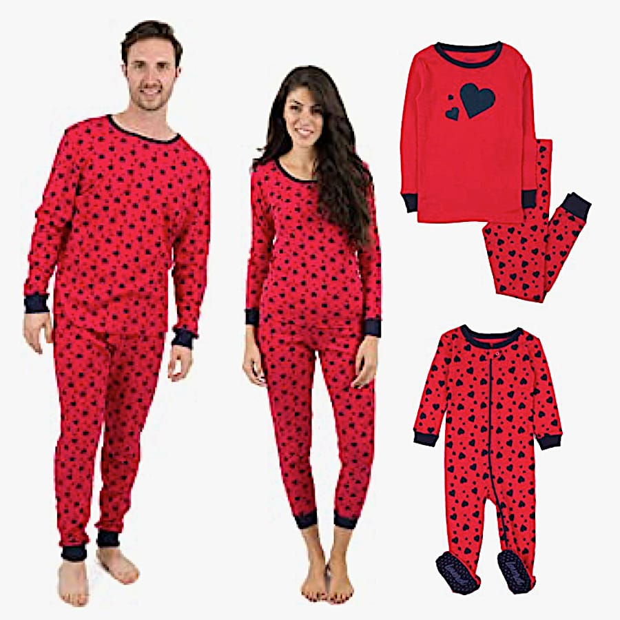 Family Matching Red and Black Hearts PJs