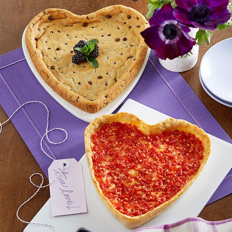 Heart Shaped Chocolate Chip Cookie & Heart Shaped Pizza