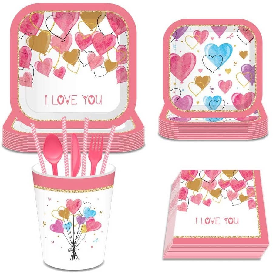 I Love You Red and Pink Valentine's Day Party Supplies