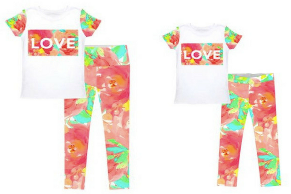 Love in Water Color Mom and Me Outfits