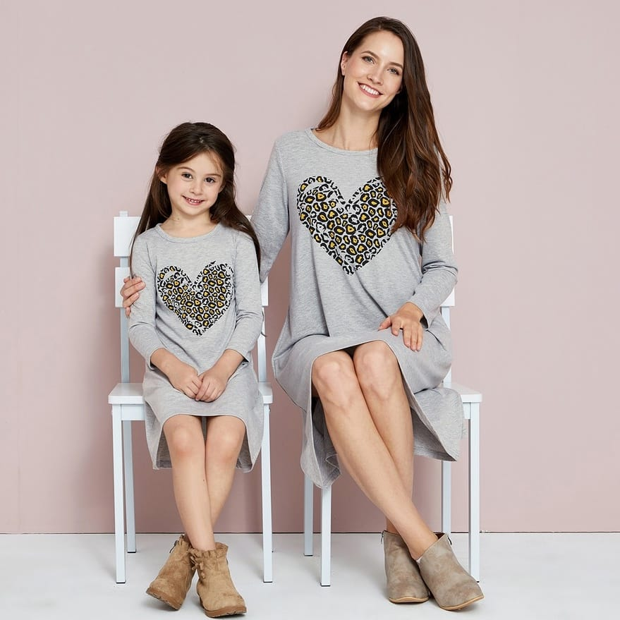 Mommy and Me Leopard Print Love Heart Dresses