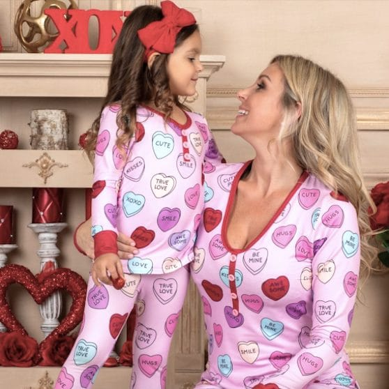 Mommy + Me Valentine's Day Themed Heart Print Button PJs