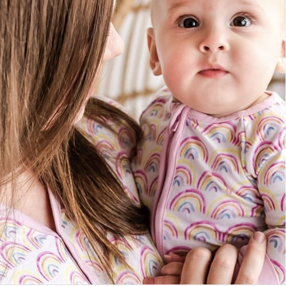 Pastel Rainbows Mommy and Me Bamboo Viscose Pajamas