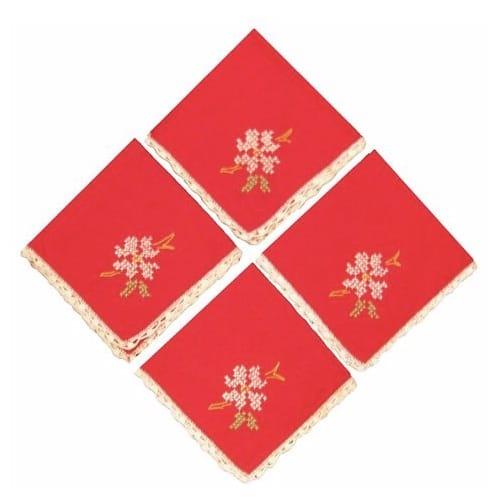 Red Cross-Stitch Napkins