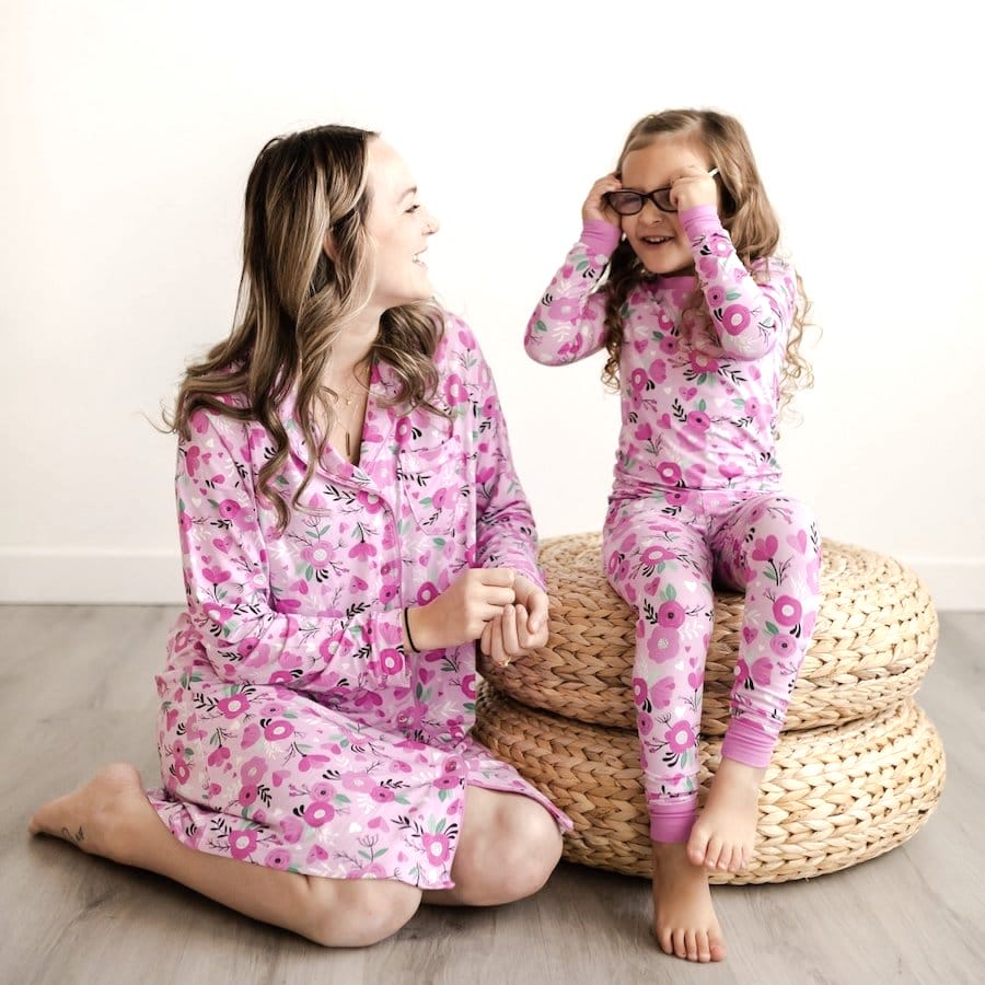Sweetheart Floral Mother Daughter  Bamboo Viscose Sleepwear
