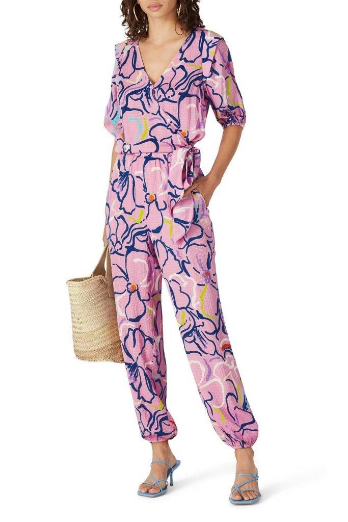 Tanya Taylor Pink Floral Jumpsuit