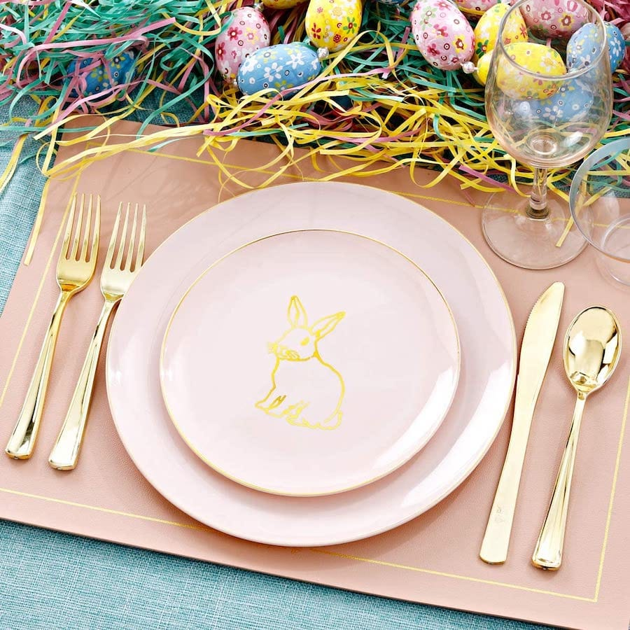 Pink And Gold Plastic Bunny Plates