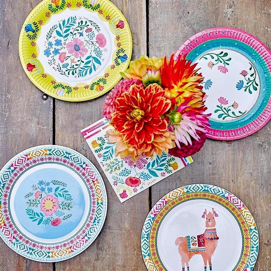 Boho Fiesta Floral Paper Plates