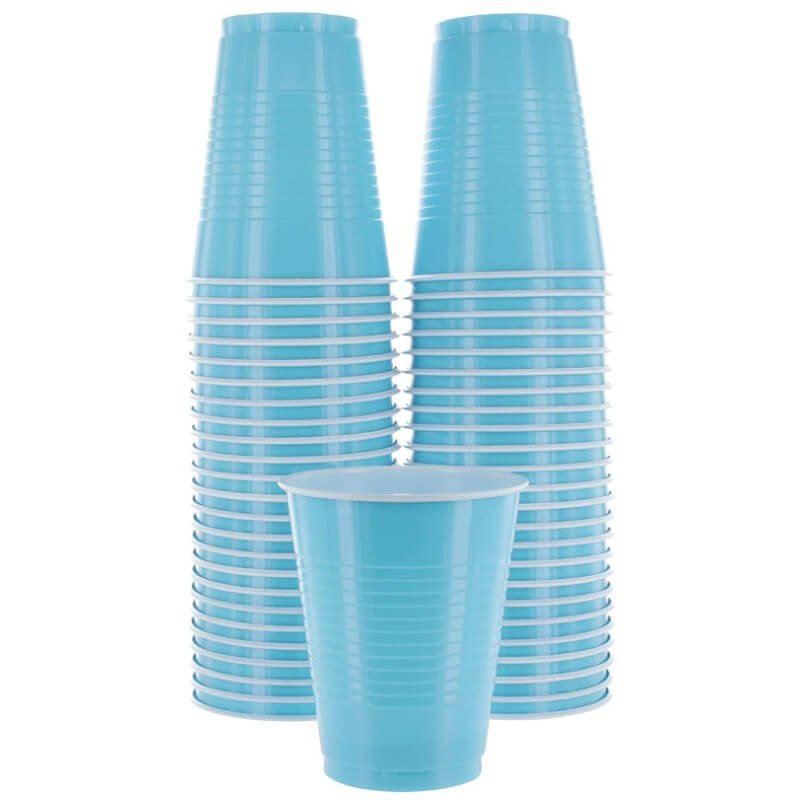 Caribbean Blue Plastic Cups